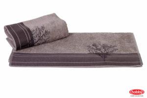 Махровое полотенце с вышивкой 50x90 INFINITY серый 100% Хлопок
