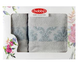 Махровое полотенце в коробке 50x90+70x140 RUZANNA св.голубой 100% Хлопок