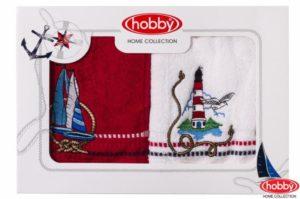 Махровое полотенце с вышивкой 50x90*2 MARINA белое-красное ассорти100% Хлопок