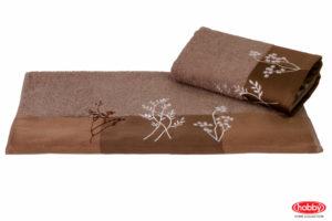 Махровое полотенце с вышивкой 70x140 FLORA коричневый 100% Хлопок