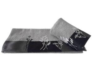 Махровое полотенце с вышивкой 70x140 FLORA св.серый 100% Хлопок