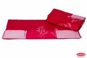 Махровое полотенце с вышивкой 70x140 FLORA фуксия 100% Хлопок