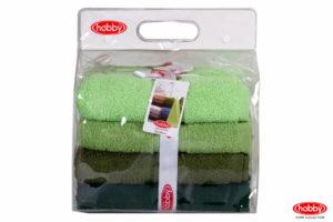 Махровое пол. в сумке пвс 50x90*4 RAINBOW зелёный 100% Хлопок