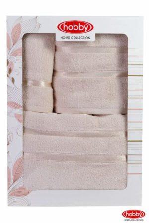 Махровое полотенце в коробке 30x50+50x90+70x140 DOLCE св.жёлтый 100% Хлопок