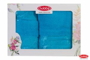 Махровое полотенце в коробке 30x50+50x90+70x140 DORA бирюзовый 100% Хлопок