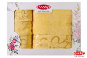 Махровое полотенце в коробке 30x50+50x90+70x140 DORA жёлтый 100% Хлопок