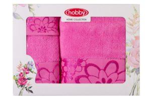 Махровое полотенце в коробке 30x50+50x90+70x140 DORA розовый 100% Хлопок