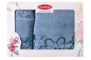 Махровое полотенце в коробке 30x50+50x90+70x140 DORA св.голубой 100% Хлопок