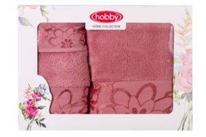 Махровое полотенце в коробке 30x50+50x90+70x140 DORA т.розовый 100% Хлопок