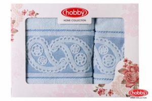Махровое полотенце в коробке 50x90+70x140 HURREM голубой 100% Хлопок