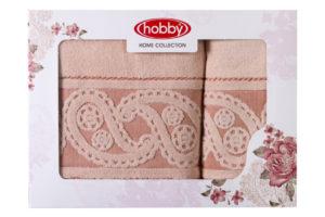 Махровое полотенце в коробке 50x90+70x140 HURREM персиковый 100% Хлопок