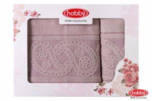 Махровое полотенце в коробке 50x90+70x140 HURREM розовый 100% Хлопок
