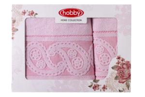 Махровое полотенце в коробке 50x90+70x140 HURREM св.розовый 100% Хлопок