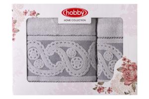 Махровое полотенце в коробке 50x90+70x140 HURREM серый 100% Хлопок