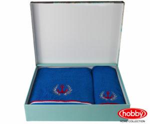 Махровое полотенце с выш. в коробке 50x90+70x140 MARITIM синий 100% Хлопок