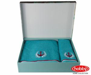Махровое полотенце с выш. в коробке 50x90+70x140 MARITIM бирюзовый 100% Хлопок