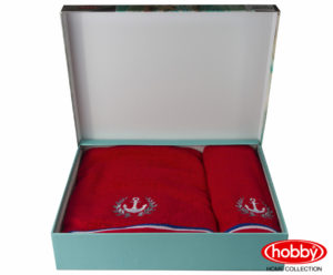 Махровое полотенце с выш. в коробке 50x90+70x140 MARITIM красный 100% Хлопок