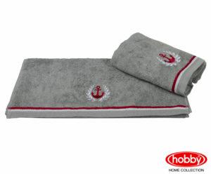 Махровое полотенце с вышивкой 50x90 MARITIM серый 100% Хлопок