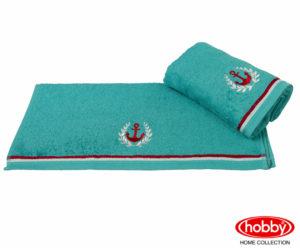 Махровое полотенце с вышивкой 50x90 MARITIM бирюзовый 100% Хлопок