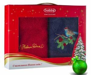 Махровое полотенце в коробке 50х90*2 Новый год V2 100% Хлопок