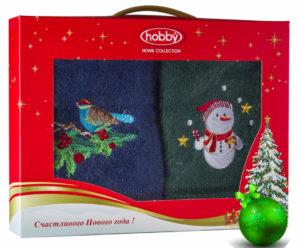 Махровое полотенце в коробке 50х90*2 Новый год V4 100% Хлопок