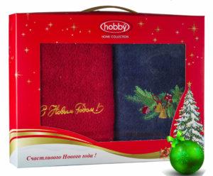 Махровое полотенце в коробке 50х90*2 Новый год V7 100% Хлопок
