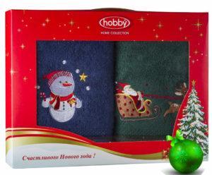 Махровое полотенце в коробке 50х90*2 Новый год V14 100% Хлопок