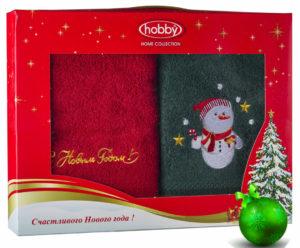 Махровое полотенце в коробке 50х90*2 Новый год V16 100% Хлопок