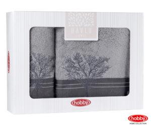 Махровое полотенце в коробке 50x90+70x140 INFINITY серый 100% Хлопок