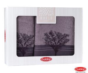 Махровое полотенце в коробке 50x90+70x140 INFINITY фиолетовый 100% Хлопок