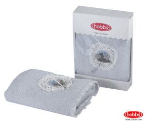 Махровое полотенце с выш. в коробке 50x90 ROMANTIC св.серый 60% Бамбук 40% Хлопок