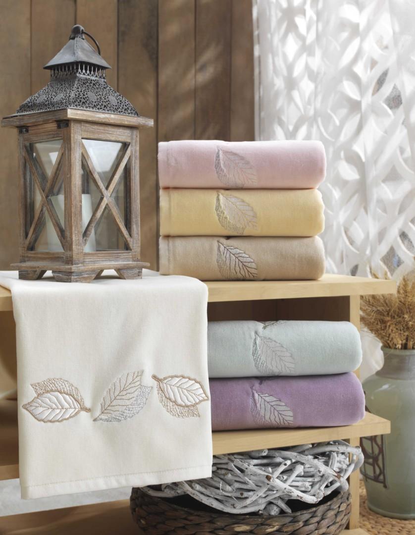 Махровое полотенце с выш. в коробке 50x90 LEYDI-anna кремовый 100% Хлопок