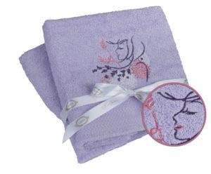 Махровое полотенце (50x90*2) LOVE лиловый 100% Хлопок