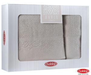 Махровое полотенце в коробке 50x90+70x140 ALICE бежевый 100% Хлопок