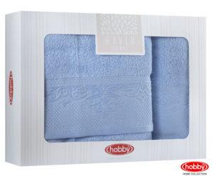 Махровое полотенце в коробке 50x90+70x140 ALICE синий 100% Хлопок