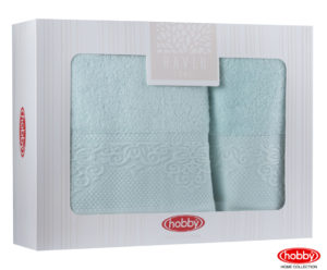 Махровое полотенце в коробке 50x90+70x140 ALICE минт 100% Хлопок
