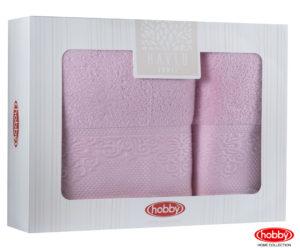Махровое полотенце в коробке 50x90+70x140 ALICE розовый 100% Хлопок
