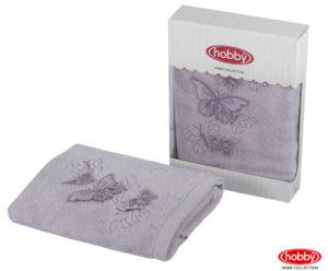 Махровое полотенце с выш. в коробке 50x90 GULNIHAL-bahar лиловый 60% Бамбук 40% Хлопок