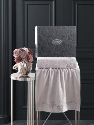 Комплект махровых полотенец с вышивкой VALOR Бежевый