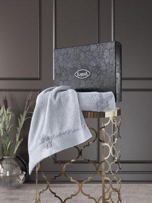 Комплект махровых полотенец с вышивкой SIENA Серый