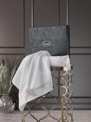 Комплект махровых полотенец с вышивкой SIENA Кремовый
