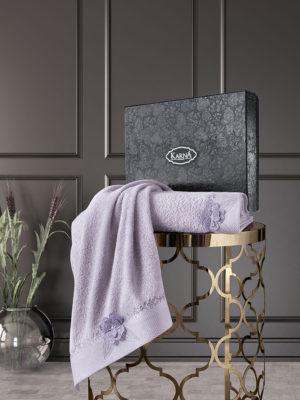 Комплект махровых полотенец с вышивкой SIENA Светло-лаванда