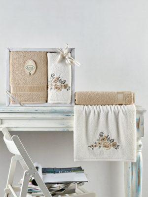 Комплект махровых полотенец ELVIN Бежевый