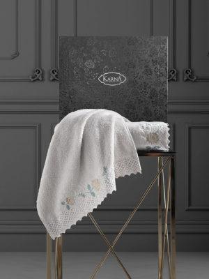 Комплект махровых полотенец  c гипюр AMORA Бежевый