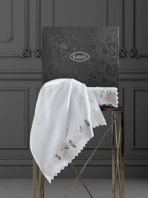 Комплект махровых полотенец  c гипюр AMORA Кремовый