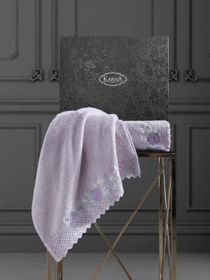 Комплект махровых полотенец  c гипюр AMORA Светло-лаванда