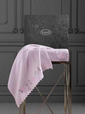 Комплект махровых полотенец  c гипюр AMORA Розовый
