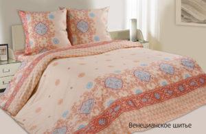 Комплект постельного белья поплин Венецианское шитье евро на резинке