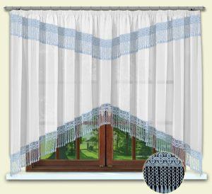 Комплект штор № 012 160*300 с гипюром голубой
