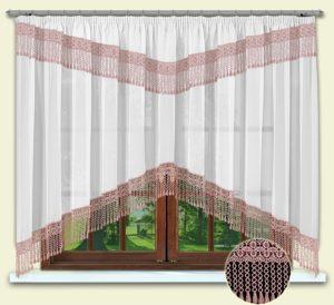 Комплект штор № 012 160*300 с гипюром розовый